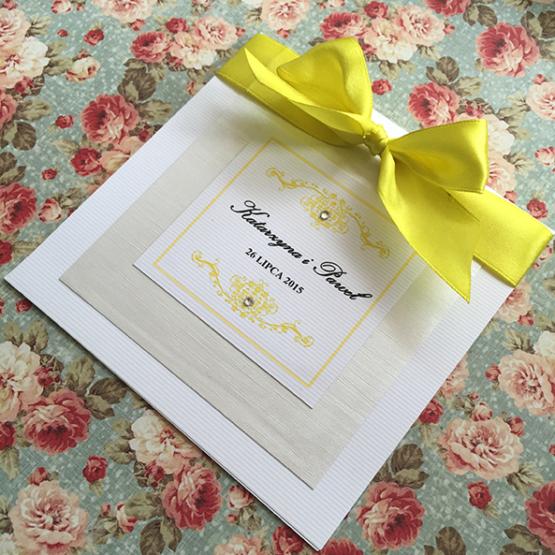 Zaproszenie Belmonte z kokardą wklejaną – żółty