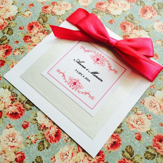 Zaproszenie Bagatel ze wstążką – amarantowy