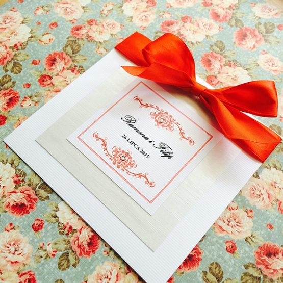 Zaproszenie Bagatel ze wstążką – czerwony