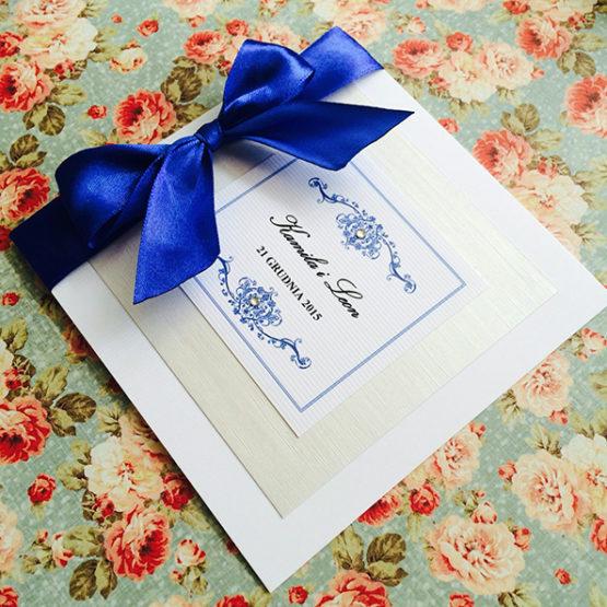 Zaproszenie Bagatel ze wstążką – kobaltowy