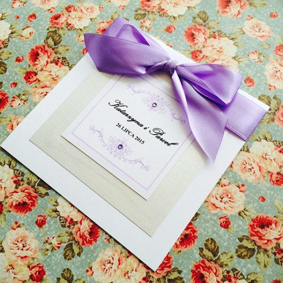 Zaproszenie Bagatel ze wstążką – liliowy