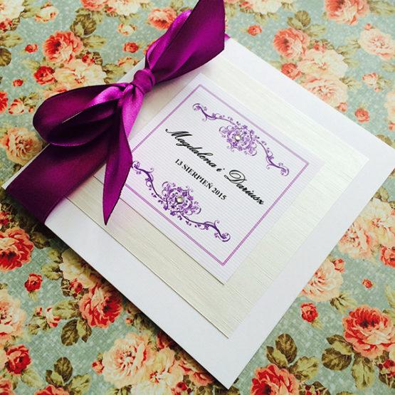 Zaproszenie Bagatel ze wstążką – fioletowy