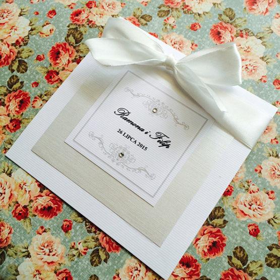 Zaproszenie Bagatel ze wstążką – biały
