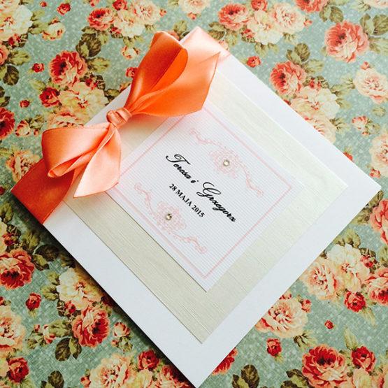 Zaproszenie Bagatel ze wstążką – pomarańczowy