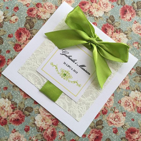 Zaproszenie Belmonte z kokardą wklejaną – zielony