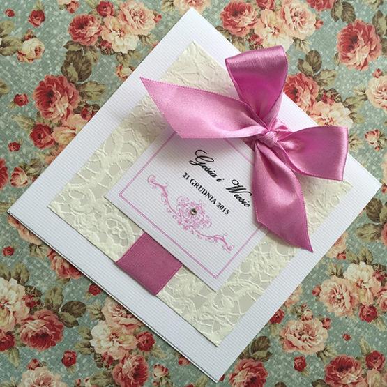 Zaproszenie Belmonte z kokardą wklejaną – różowy